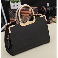 Fashion New Style Zipper Clutches Black PU Bag   11
