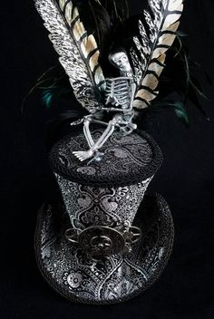 Silver Brocade Steampunk Mini Top Hat w/ Skeleton by Wickedheart