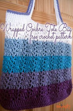 The Wrapped Ombre Tote Bag free crochet pattern features a combination of wrapped stitches and fun ombre stripes! Great stashbuster on Moogly! Bag Crochet, Crochet Purse Patterns, Crochet Market Bag, Crochet Shell Stitch, Crochet Handbags, Crochet Purses, Crochet Gifts, Crochet Baskets, Tote Pattern