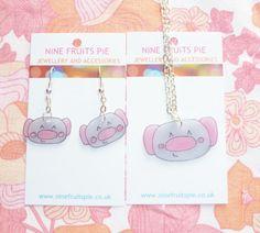 Kawaii Koala Necklace and Earring Set  Pink and by NiNEFRUiTSPiE, £5.00 #kawaii #cute