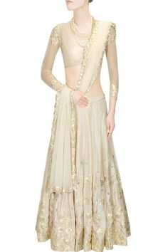 Off white and gold floral thread work and sequins embroidered lehenga set Design by Astha Narang at Pernia's Pop Up Shop Ethnic Outfits, Indian Outfits, Lehenga Wedding, Wedding Dress, Indian Fashion Designers, Indian Attire, Indian Wear, Indian Couture, Lace Dress Black