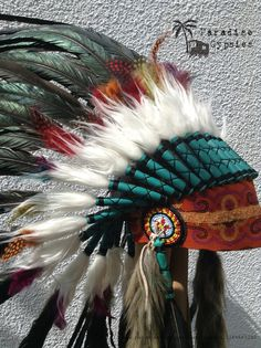 Black & Rainbow Feather Turquoise Detail Feather Headdress by Paradise Gypsies