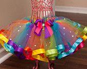 Rainbow Bling Ribbon Trim Tutu