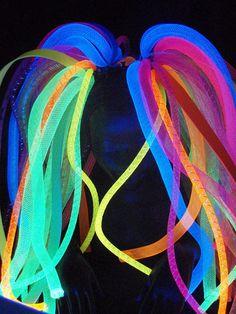 Full Length Rainbow Shimmer  Neon Cyberlox Cyberpunk Cybergoth Pink Blue Green Yellow Orange Yellow Purple