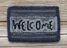 Primitive Hand Hooked Wool Welcome Mat  Shades of by FolkArtFibers