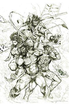 "X-Men :: Wolverine (James «Logan» Howlett), Gambit (Remy Etienne LeBeau), Rogue (Anna Marie), Cyclops (Scott ""Slim"" Summers) by nefar007"