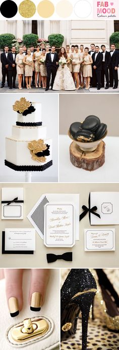 black gold and white wedding theme