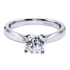 14k white gold cathedral solitaire round diamond engagement ring with pinched shank