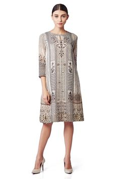 A chic, full sleeved digital printed dress in georgette. INR 6,990.00