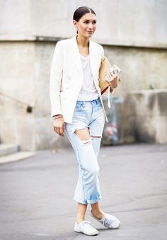 White tee, white blazer and ripped jeans
