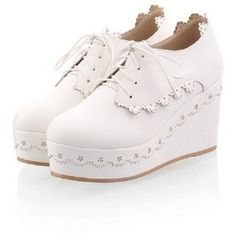 Charm Foot Sweet Womens Wedge Heel Platform Shoes Casual Shoes
