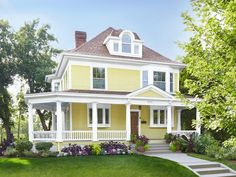 #CurbAppeal: This home is painted a mellow yellow color with a surprising twist....a blue roof on the porch. #hgtvmagazine http://www.hgtv.com/landscaping/copy-the-curb-appeal-minneapolis-mn/pictures/index.html?soc=pinterest