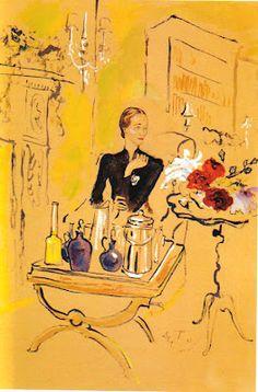 Sketch of Wallis Simpson, Duchess of Windsor serving cocktails by Cecil Beaton Wallis Simpson, Windsor, Vintage Magazine, Cecil Beaton, Collage, Mellow Yellow, Caravaggio, Henri Matisse, Gouache