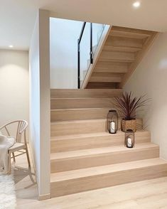 This newly built Nordic home of had caught our attention recently this year due to its simplicity in interior design and… Home Stairs Design, Interior Stairs, Home Design Decor, Home Interior Design, House Design, Home Decor, Wooden Staircase Design, Design Homes, Loft Design