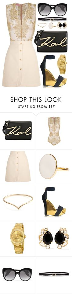 """Untitled #207"" by daneecalifornia ❤ liked on Polyvore featuring Karl Lagerfeld, OuiHours, Gucci, Balmain, Rolex, Bounkit, Alexander McQueen and C.S. Simko"