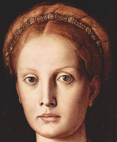 (image taken before restoration) 1541, #Bronzino -  #Lucrezia Panciatichi.  The portrait of Lucrezia inspired Henry James, who sojourned in Florence, as a central symbol in the novel Wings of the Dove. #renaissance