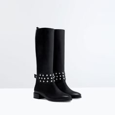ZARA - SHOES & BAGS - METAL DETAIL LEATHER BOOT