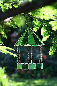 Green Stained Glass Bird Feeder,Fathers Day Gift, Outdoor Decor, Indoor Decor, Durable, Small Bird, Spring Decor