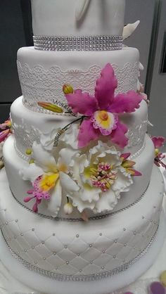 wedding cake, gum paste flowers, orchids, open peony