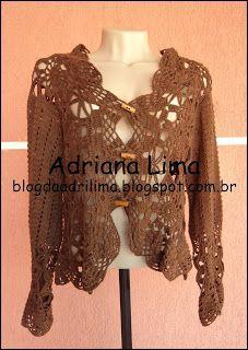 Adriana Lima: Casaco Belíssimo em crochê