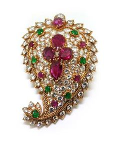 Ruby, emerald and diamond brooch by Van Cleef and Arpels