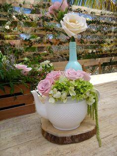 CBV166 Wedding Riviera Maya vintage centerpices with mint bottle and Tea pot / Riviera maya Bodas centros de mesa vintage  con tetera y botella