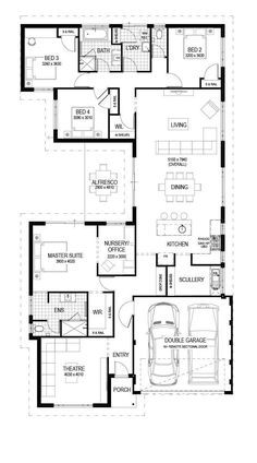 Move the laundry between the garage and scullery, make bed alfresco area and change master robe Simple House Plans, Family House Plans, Best House Plans, Dream House Plans, House Floor Plans, Home Design Floor Plans, Dream Home Design, House Design, Single Storey House Plans