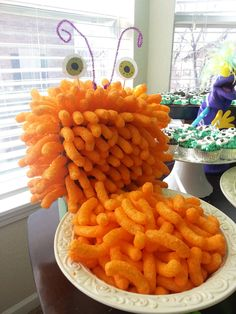 make a Cheetos Monster for a Monster Birthday Party ~ Sugar Bee Crafts