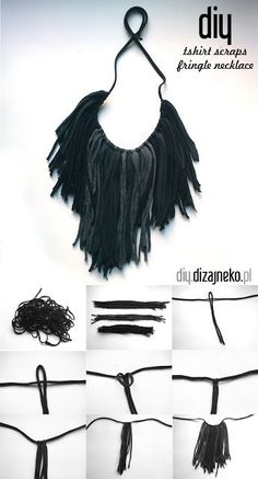 DIY: Make this fun fringed tshirt necklace - perfect for festival season!, What to do with old t shirts - 15 ways to upcycle your old tees DIY: Make this fun fringed tshirt necklace - perfect for festival season! Fabric Necklace, Fringe Necklace, Diy Necklace, Textile Jewelry, Fabric Jewelry, Jewellery, Diy Collier, Diy Accessoires, Diy Schmuck