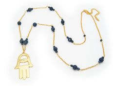 "Silver Gold Plated 26""+2"" Blue Sodalite Beads Big ""Hamsa"" Necklace"