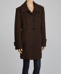 Loving this Brown & Black Houndstooth Wool-Blend Coat on #zulily! #zulilyfinds