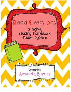 FREE!  RED (Read Every Day) Reading Homework Folder System