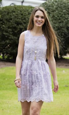 Lavender Love $72 This dress is perfect for this warmer weather.  Wear it on Easter and into the summer for an elegant, beautiful look. Spring Dress, Easter Dress, Eyelet Dress