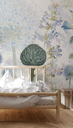 Adorn your wall with the delicate flowers of this gorgeous Blue Wild Meadow wall mural. Although perfect for all living spaces, this blue flower wallpaper would make the ideal feature wall in a bedroom. How to make a small room look bigger with a stunning wall mural. We have classic or premium paste the wall wallpapers that come with a FREE paste. Click to find out more from Wallsaauce! #wallmural #wallpaper #homeofficeidea #homeofffice #homedecor #accentwall Blue Flower Wallpaper, Custom Wall Murals, Wall Wallpaper, Wall Ideas, All Design, Blue Flowers, Living Spaces, Delicate, Tapestry