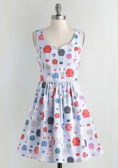 Air of Adorable Dress in Balloons - Exclusives, Cotton, Novelty Print, Pockets, Casual, Kawaii, Fit & Flare, Full-Size Run, Short, Multi, Blue, Print, Sleeveless, Private Label, Sundress