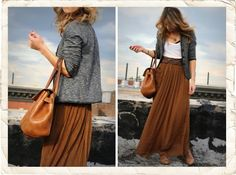 I want to live in this outfit. Heather grey cotton crop jacket, pleated maxi skirt, Mulberry.