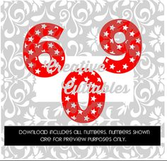 Patriotic Star Numbers for  Silhouette or other craft cutters (.svg/.dxf/.eps)