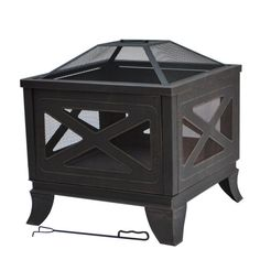 Hampton Bay 26 in. Steel Deep Bowl Fire Pit in Antique Bronze with X-Decoration-FT-51684B - The Home Depot