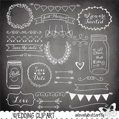 Chalkboard Wedding laurel clipart, wedding invitation, vintage clipart…