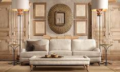 restoration+hardware+rooms | English Roll Arm 9' Sofa Classic Upholstered Standard Belgian Linen ...