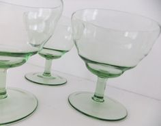 Retro sundae dishes / fruit dishes - green glass by Peony and Thistle