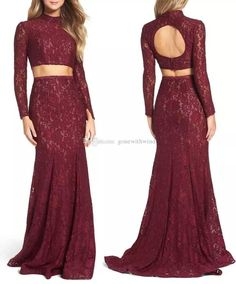 Two Piece Lace Prom Dresses 2017 Long Sleeves Open Back High Neckline Sweep Train Mermaid Cocktail Prom Gowns Cheap Red Prom Dresses Cheap White Prom Dresses From Gonewithwind, $170.86| Dhgate.Com