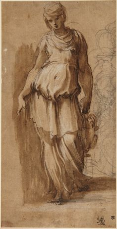 Parmigianino (Girolamo Francesco Maria Mazzola), 1503-1540, Italian, Young Woman carrying a Vessel, late 1530s.  Drawing.  Princeton University Art Museum, New Jersey.  Mannerism.