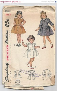 ON SALE Simplicity 3082 Vintage Sewing Pattern, 1950\'s Child\'s One-Piece Dress and Panties di HeirloomCouturier su Etsy https://www.etsy.com/it/listing/189932925/on-sale-simplicity-3082-vintage-sewing