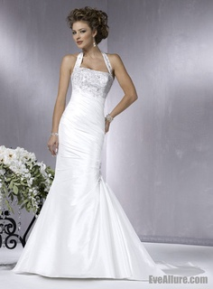 Trumpet/Mermaid Halter Strap Court Train Satin Wedding Dress with Embroidery