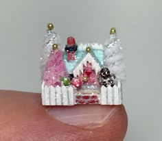 OOAK Miniature Dollhouse Christmas Putz Handcrafted Gingerbread Cottage House | eBay