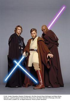 Anakin Skywalker, Obi-wan Kenobi, and Mace Windu