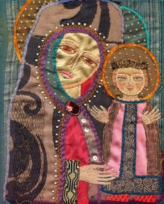 / vintage madonna and child / silk scraps, couching, split stitch, beading / made by joan nicholson's mother / Embroidery Art, Embroidery Stitches, Machine Embroidery, Embroidery Designs, Embroidery Techniques, Textile Fiber Art, Textile Artists, Textiles, Sewing Art