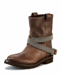 Low Western-Style Strapped Boot, Brown by Brunello Cucinelli at Neiman Marcus.