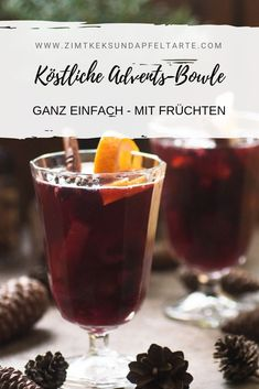 Advents-Bowle mit Früchten - ganz einfaches Rezept Advent punch with fruits - very simple recipe - our favorite winter drink and also perfect as an aperitif for Christmas. Quickly made, super tasty an Sangria Recipes, Punch Recipes, Winter Drinks, Winter Food, Muy Simple, Christmas Punch, Christmas Cocktails, Tasty, Yummy Food